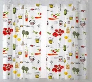 Kitchen curtain prints.