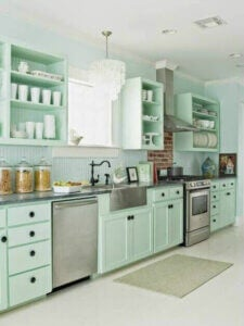 Pastel green kitchen.