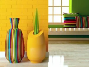 Colorful modern-style vases.
