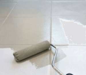 Painting floor tiles.