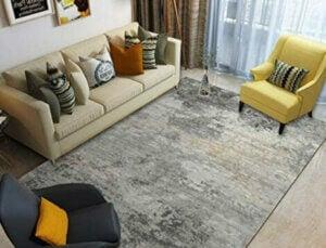 A gray polypropylene rug.