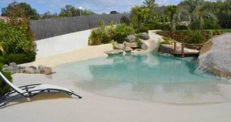 A pool ourside s person's home