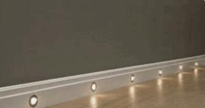 Low-level lighting - integrated baseboard lights.