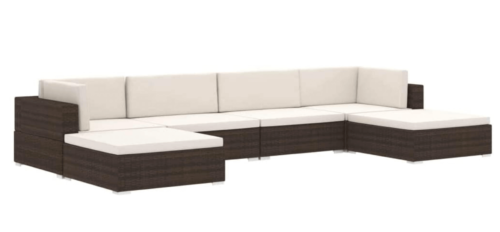 A synthetic rattan sectional.