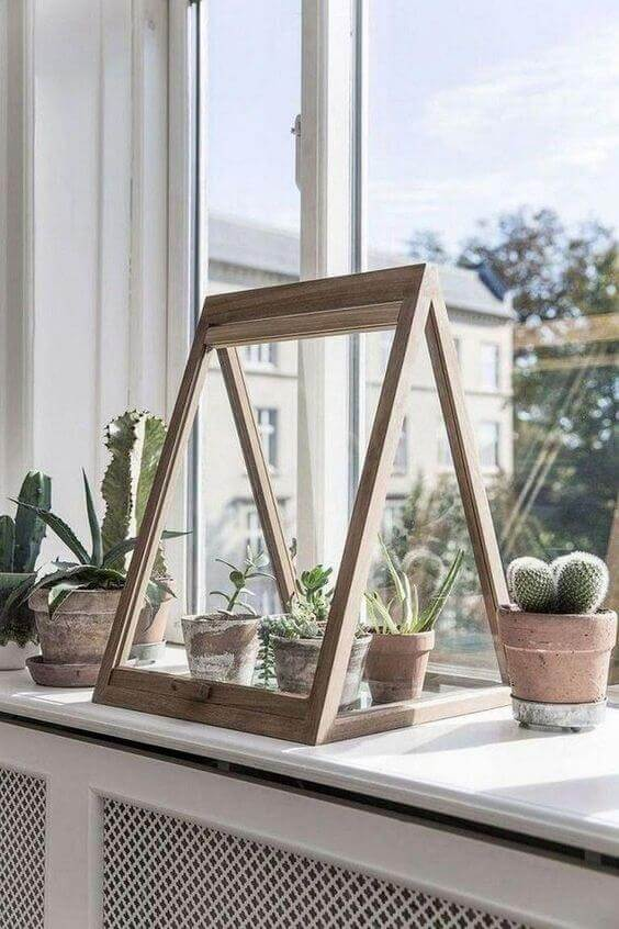 Simple winter garden sitting on the window sill