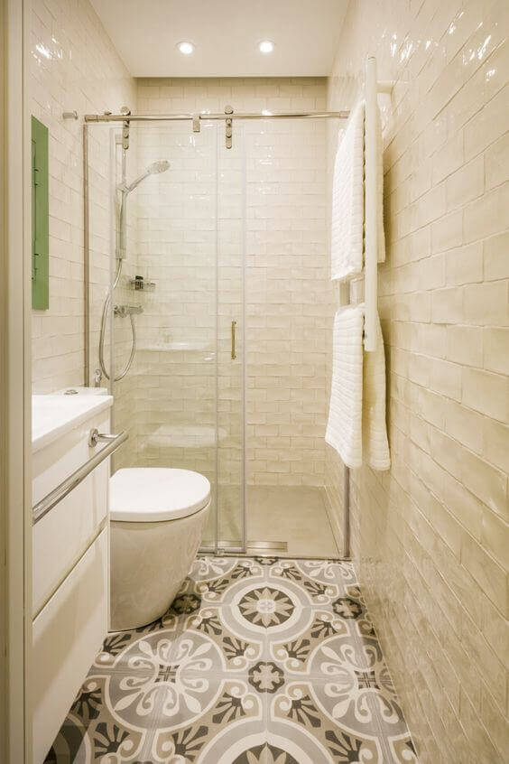 Bath with a shower illustrating rough texture types