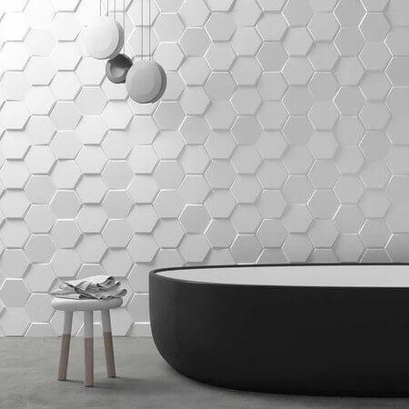 Geometric tiles in the bathroom