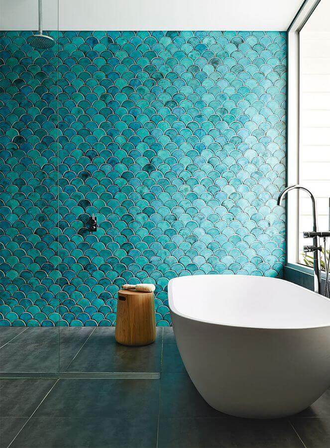 One of the texture types with blue glazed bathroom wall