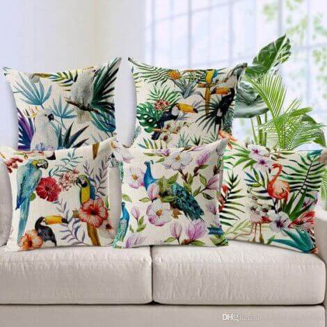 Tropical rainforest print cushions.