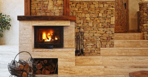 Brown stone fireplace as in a second home