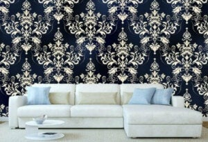Decorating your living room with wallpaper - damask patterns.