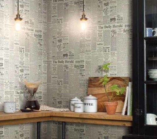 Try Newspaper Wallpaper and These Creations to Decorate