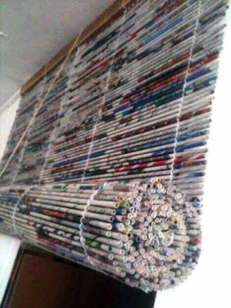 A shade made out of newspaper