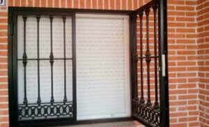 Wrought iron grille.