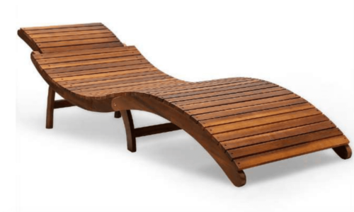 A wooden lounge chair.