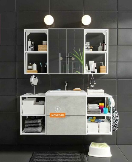 A bathroom with a lot of shelves.