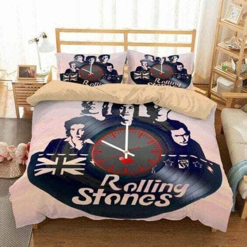 A bedspread of the rolling stones.