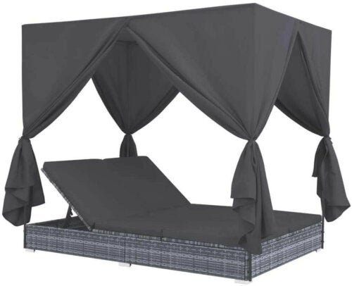 A black Bali bed for relaxing.