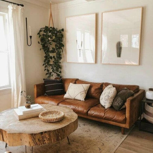 A brown colored couch in a living room.