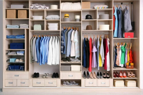 A closet with different compartments.