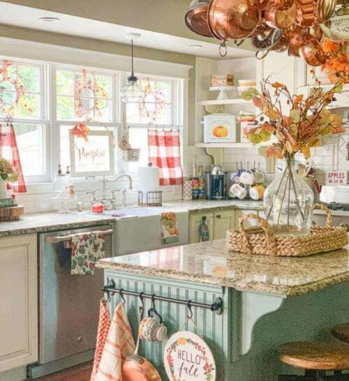 A countertop with farm themed objects.