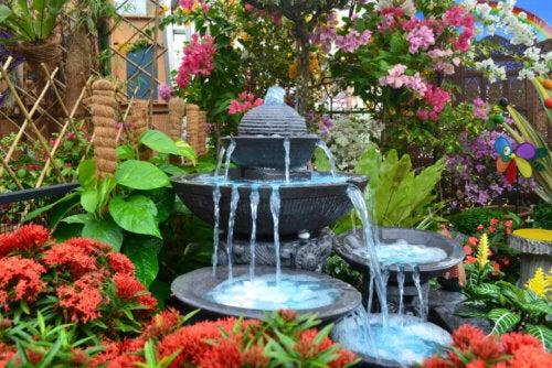 A charming garden and fountain.