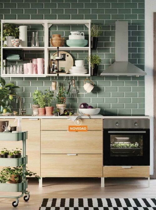 A kitchen with some shelves from the IKEA catalogue.