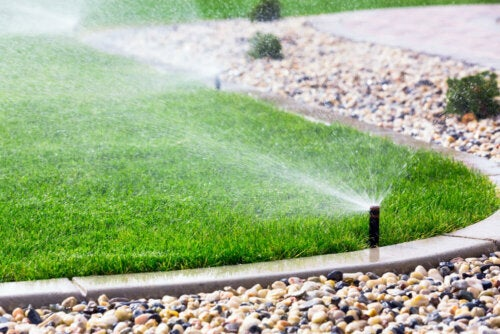 A lawn watering system in action.