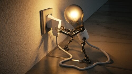 A light bulb robot plugging itself in.