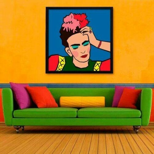 A living room and painting with a lot of color dissonance.