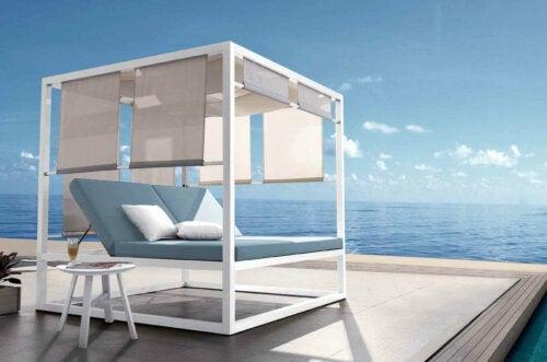 A modern lounge spot beside the ocean.