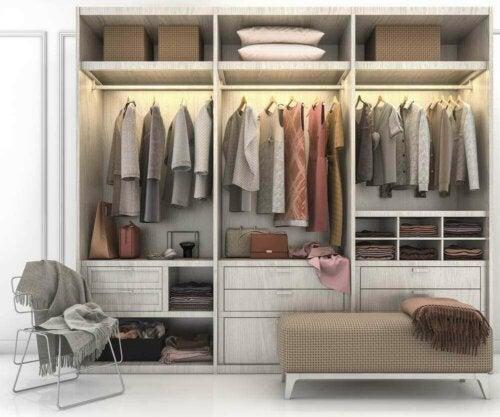 A neatly organized functional closet.