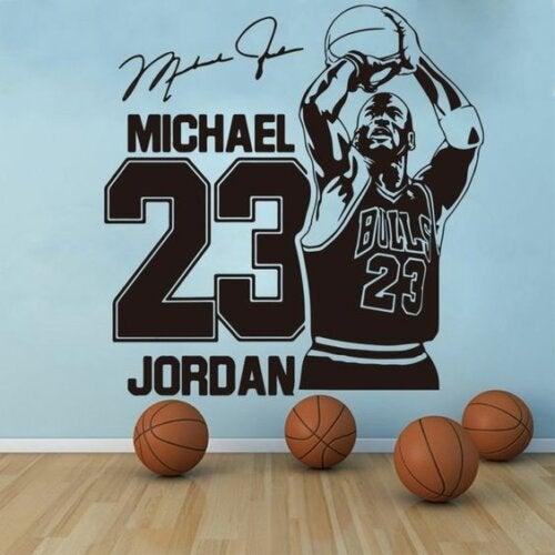 A print of Michael Jordan on a wall.