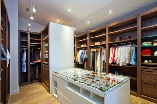 A room with clothes and other items.