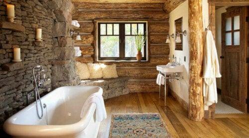 A rustic bathroom.