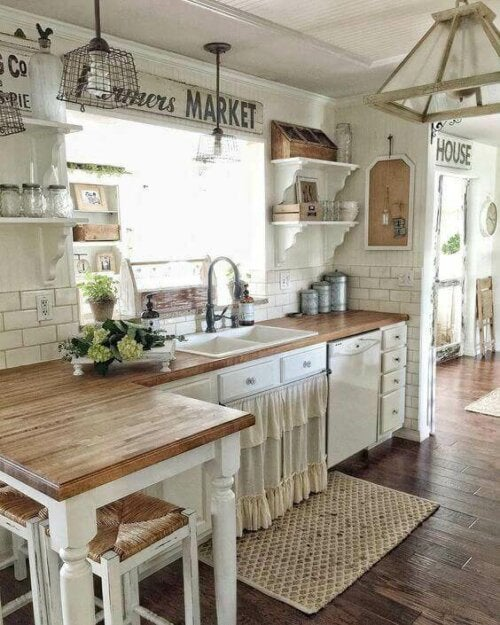 A rustic counter and sink.