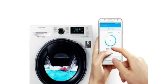 An example of technology and eco-efficiency through a phone controlling a washing machine.