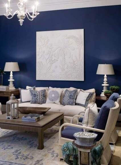 A blue interior design.