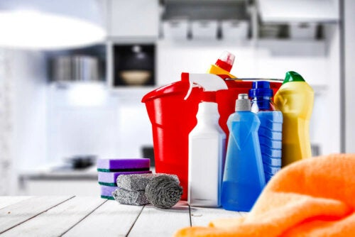 Various bottles of cleanng substances to disinfect your home