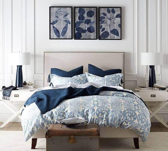 A blue bedspread.