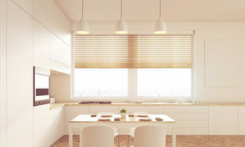 Manual blinds in a kitchen.