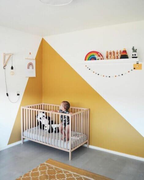 A nursery with ochre on the wall