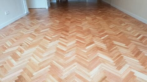 parquet floor and white walls