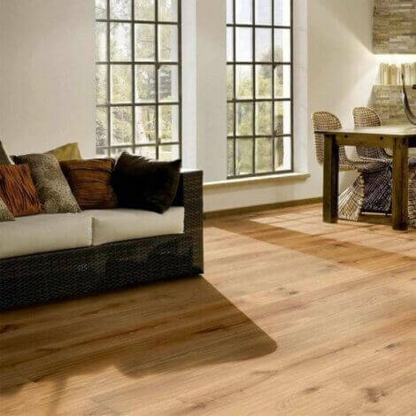 Wood floor with a sofa by the windows.