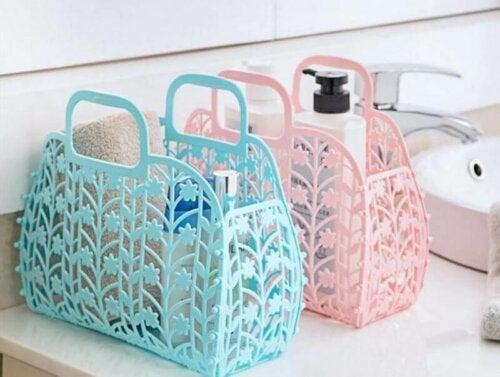 A few plastic baskets.