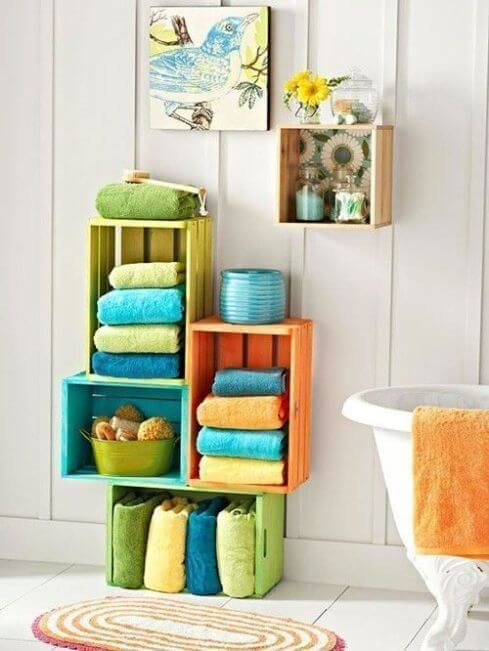 Colorful shelves in a bathroom.