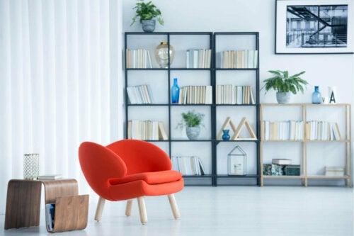 Shelves in a living room.