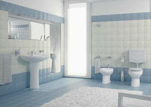 A sky blue bathroom.