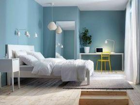 Sky blue in the bedroom.