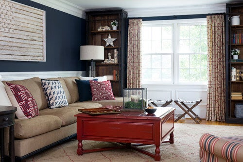 Americana style living room using red, white and blue.